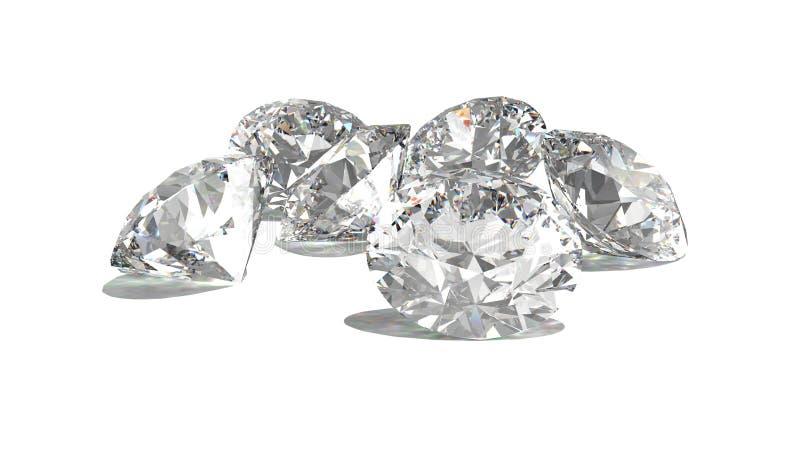 Diamanten op wit 3d model worden geïsoleerd dat vector illustratie