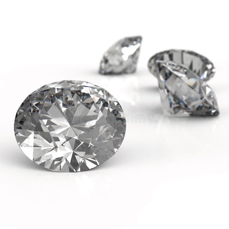 Diamanten op wit worden geïsoleerd dat stock illustratie