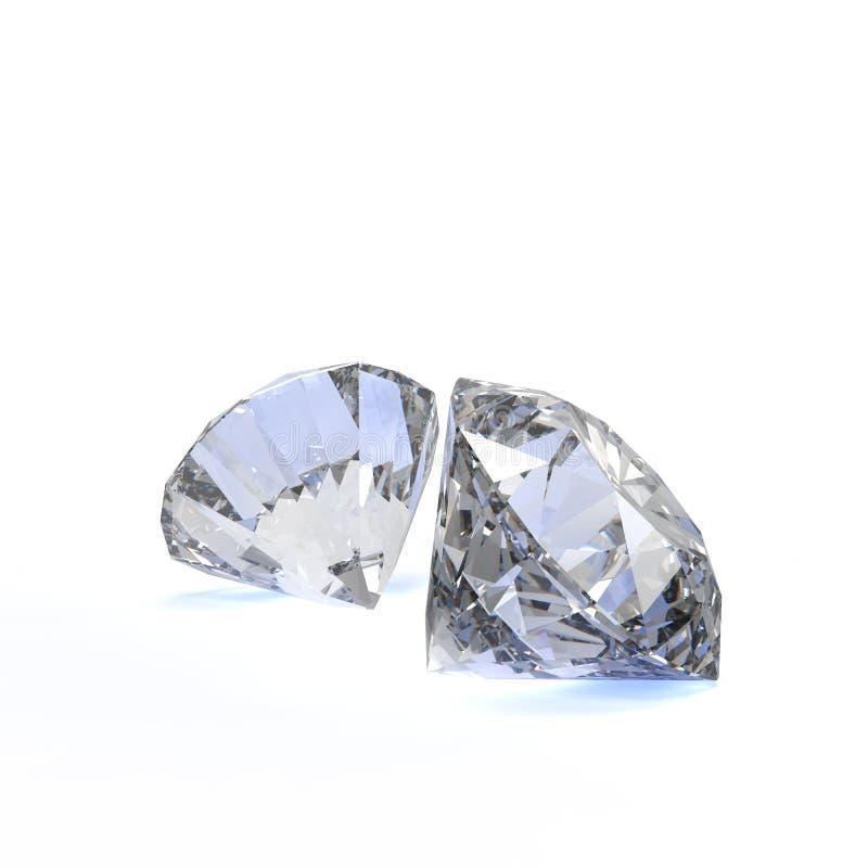 Diamanten op wit worden geïsoleerd dat royalty-vrije illustratie
