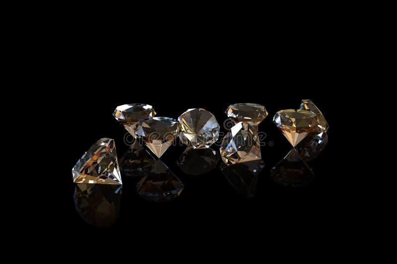 Diamanten op zwarte achtergrond stock illustratie