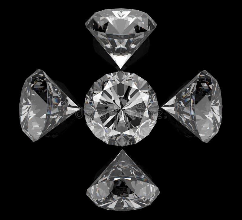 Diamanten op zwarte oppervlakte stock illustratie