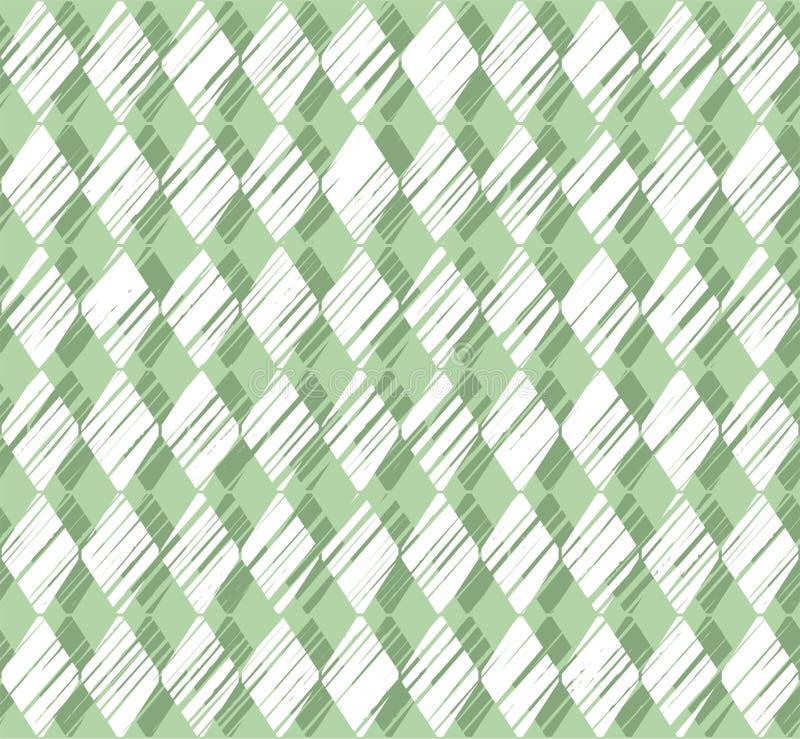 Diamanten, patroon die, groene naadloze achtergrond, vector in de schaduw stellen stock illustratie