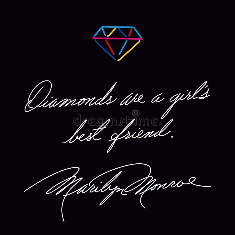 Diamanten sind ein bester Freund der Mädchen Modezitat Marilyn Monroes Handschrift stock abbildung