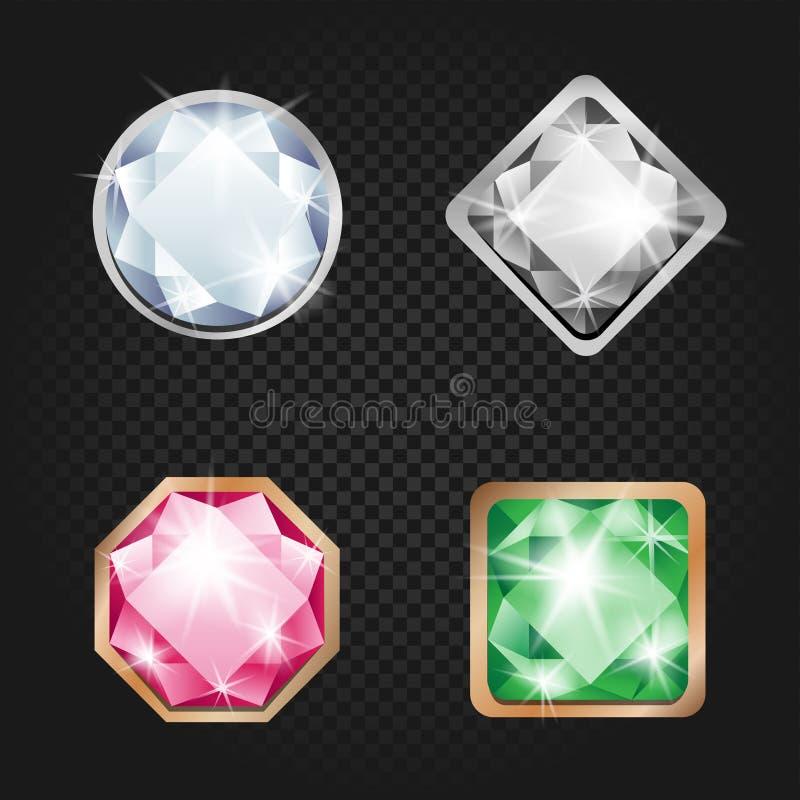 Diamanten und dunkler Hintergrund der Juwelen vektor abbildung