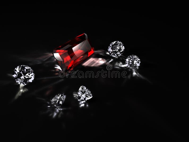 Diamanten und ein Rubin stockfotos
