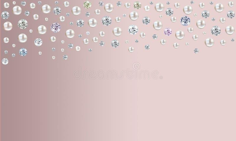 Diamanten und Perlen, die von der Spitze auf rosa Satinhintergrund regnen lizenzfreie abbildung