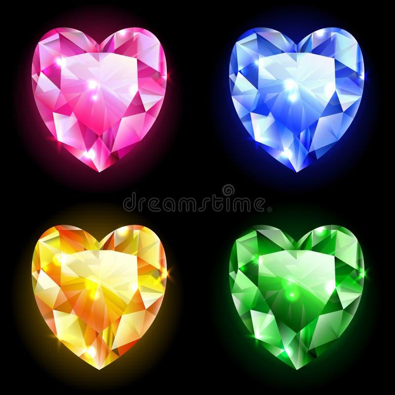 Diamanten van hart vector illustratie