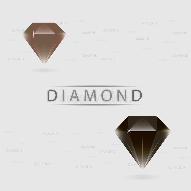 Diamanten zwarte en bruine kleuren stock illustratie