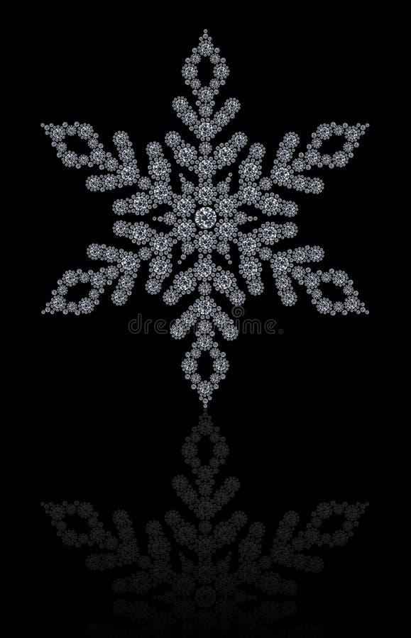 Diamantensneeuwvlok op zwarte achtergrond stock fotografie