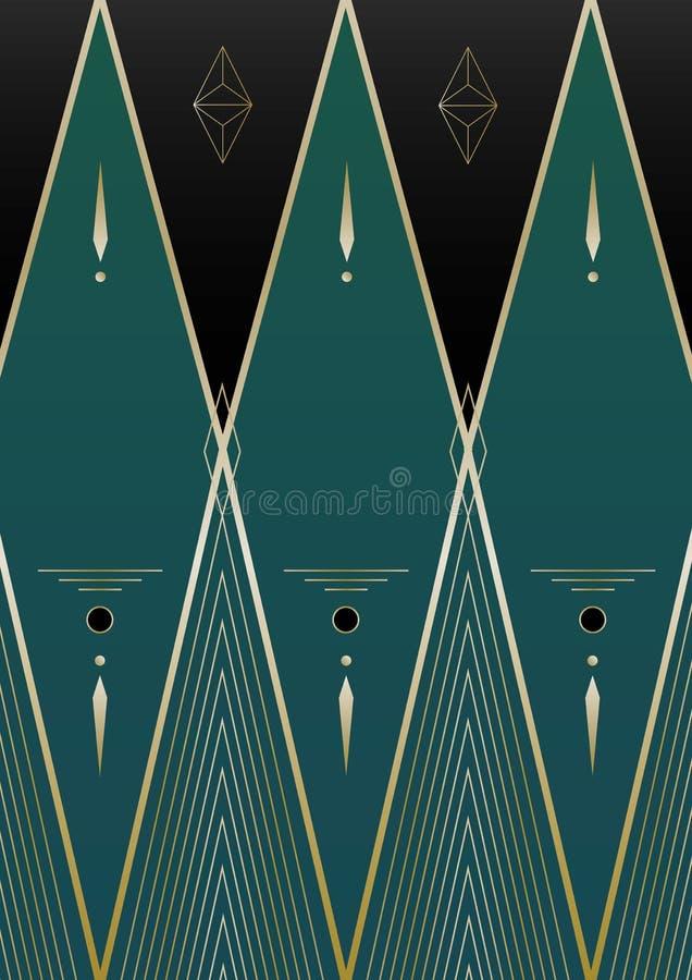 Diamanter Art Deco Background royaltyfri illustrationer