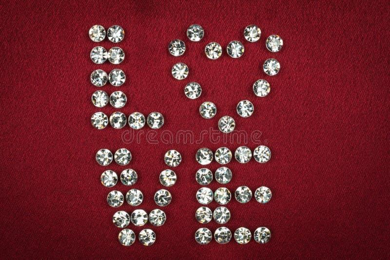 Diamantes artificiales presentados AMOR de la palabra imagen de archivo