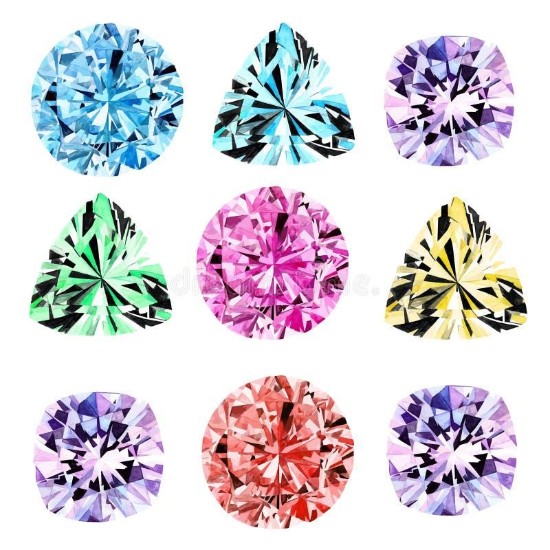Diamantes brillantes de la acuarela fijados ilustración del vector