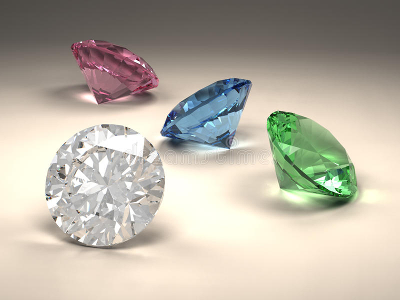 Diamantes coloridos ilustração do vetor