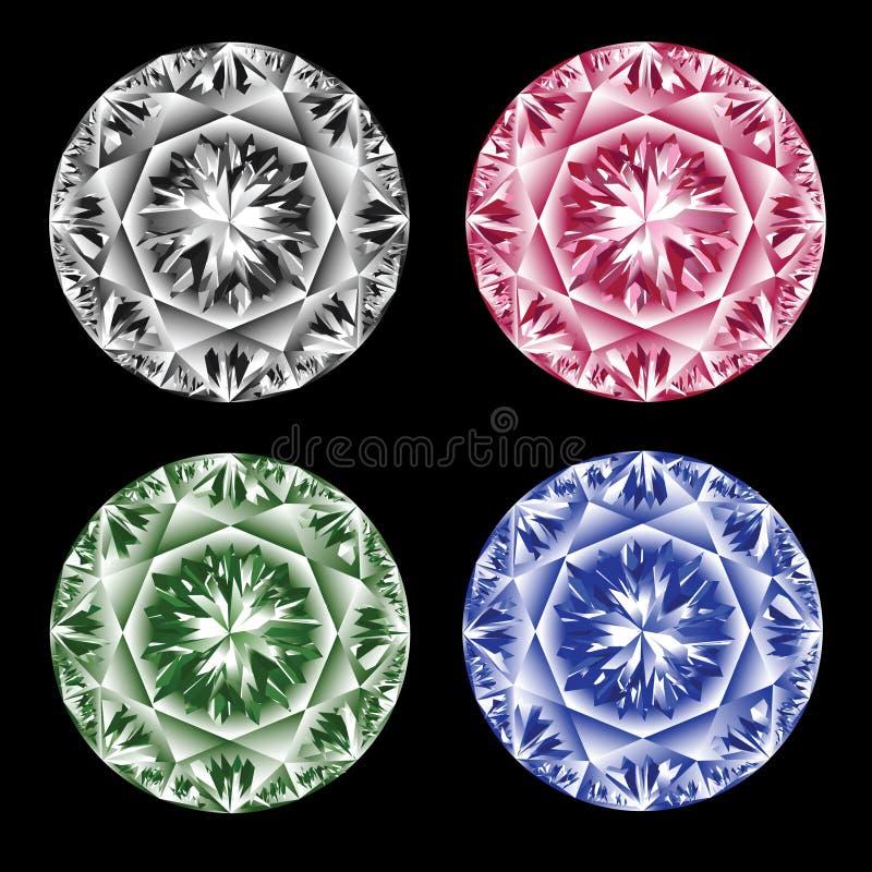 Diamantes coloridos. ilustração stock