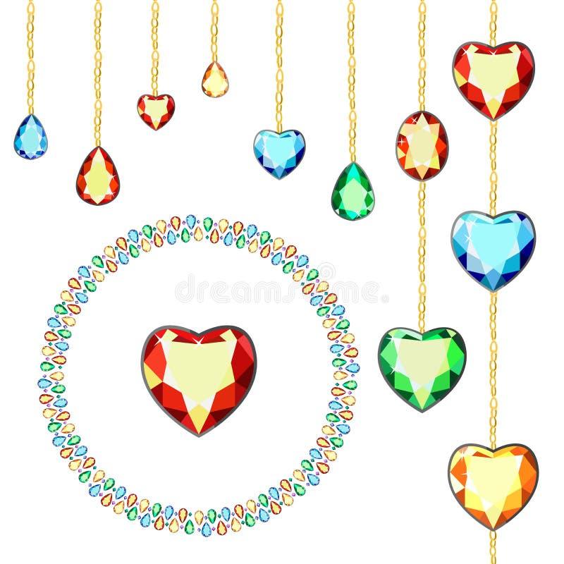 Diamantes coloridos em correntes do ouro Cartão com gemas coloridas Gemas coloridas do corte diferente ilustração do vetor