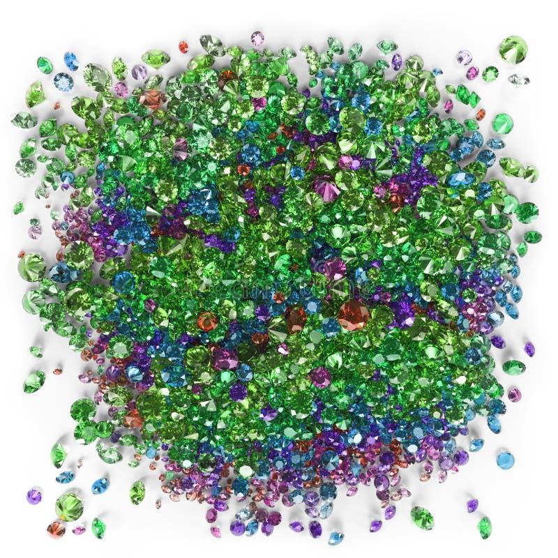 Diamantes coloridos em um fundo branco imagem de stock