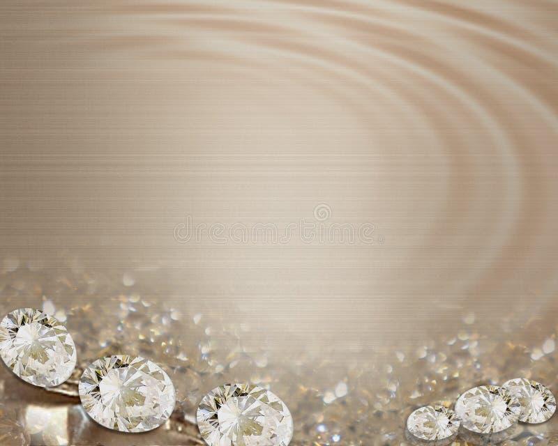 Diamantes de la invitación de la boda en cintas del satén ilustración del vector