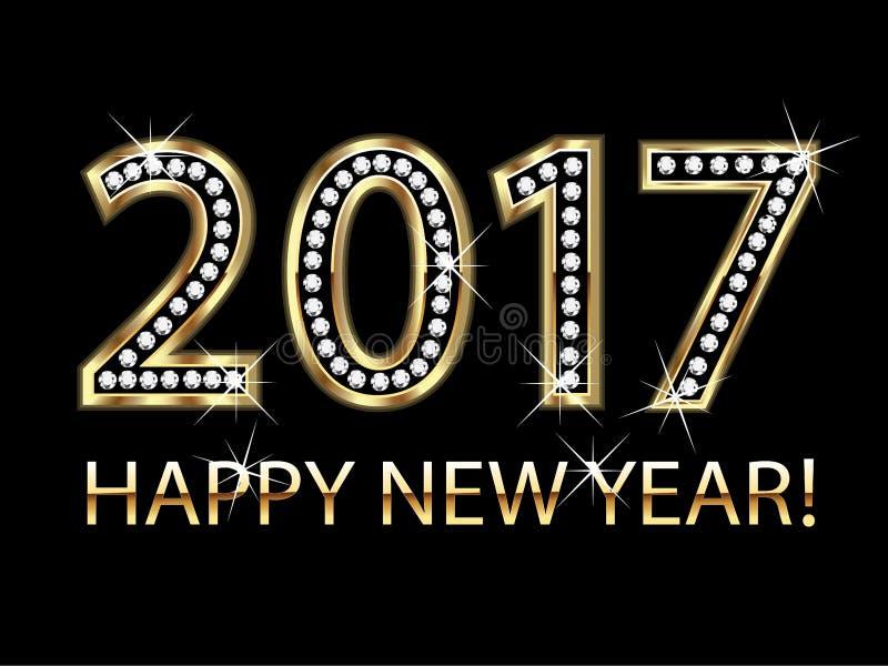 Diamantes 2017 do ouro do ano novo feliz ilustração do vetor