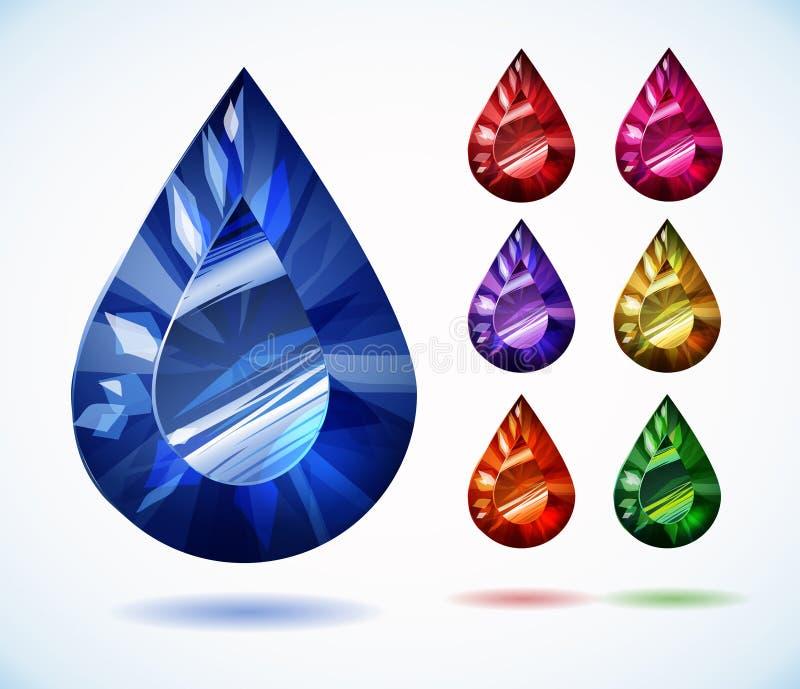 Diamantes e grupo colorido do vetor de pedras preciosas ilustração stock