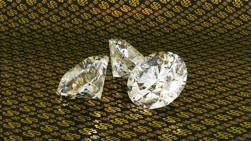 Diamantes grandes sobre fondo de oro del dólar stock de ilustración