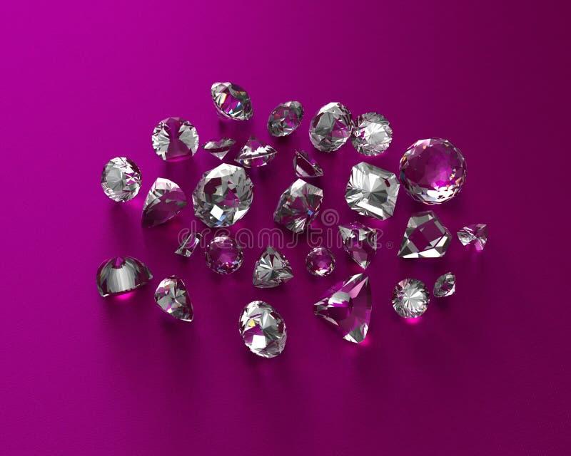Diamantes isolados no fundo branco ilustração royalty free
