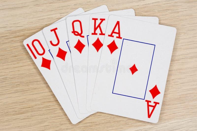 Diamantes nivelados reais - casino que joga cartões do pôquer imagem de stock royalty free