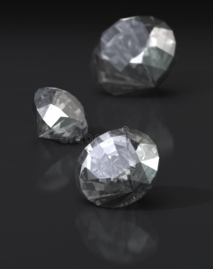 Diamantes no fundo escuro ilustração stock