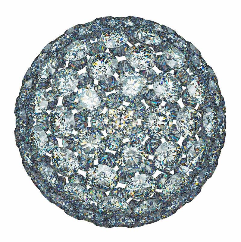 Diamantes o esfera de las piedras preciosas aislada sobre blanco stock de ilustración
