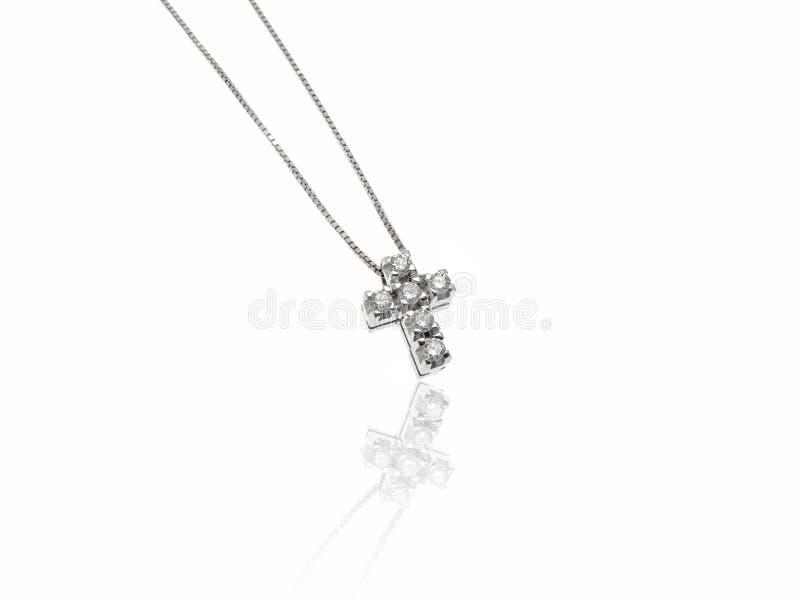 Diamantes poca joya cruzada fotografía de archivo libre de regalías