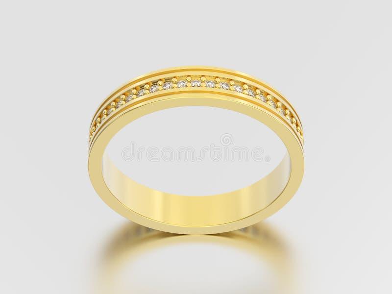 diamantes rin de la alianza de boda del compromiso del oro amarillo del ejemplo 3D libre illustration