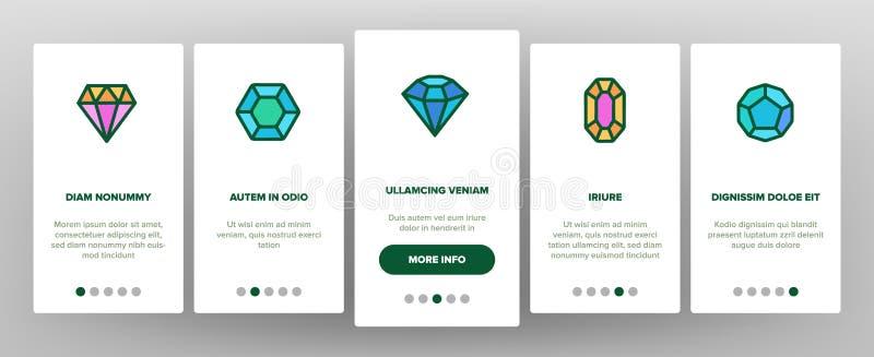 Diamantes, vector Onboarding de las gemas stock de ilustración