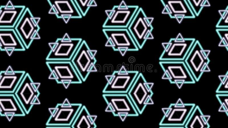 Diamantes y cubos de los triángulos en un modelo en negro libre illustration