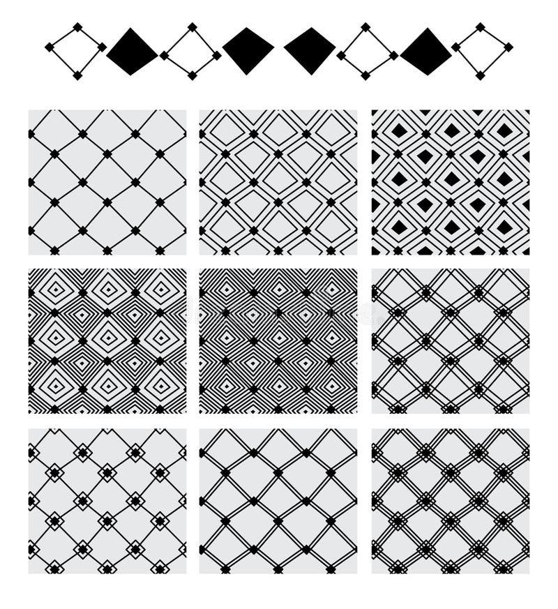 Diamantformlinje sömlös modell för symmetriuppsättning royaltyfri illustrationer