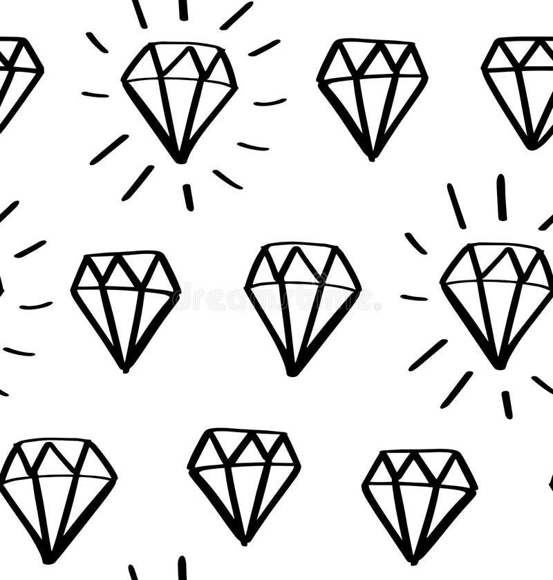 Diamantgekritzel-Vektormuster Modischer Hintergrund der nahtlosen Mode Handgezogene Edelsteine, Diamanten lizenzfreie abbildung