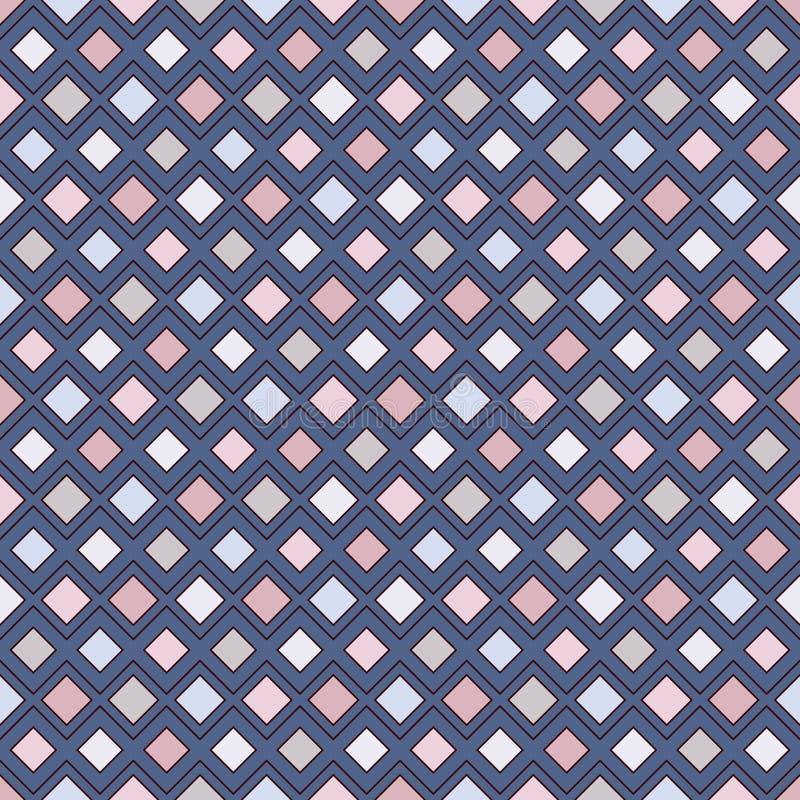 Diamanti e linee ripetuti fondo Motivo geometrico Modello di superficie senza cuciture con l'ornamento luminoso dei rombi di colo immagini stock libere da diritti