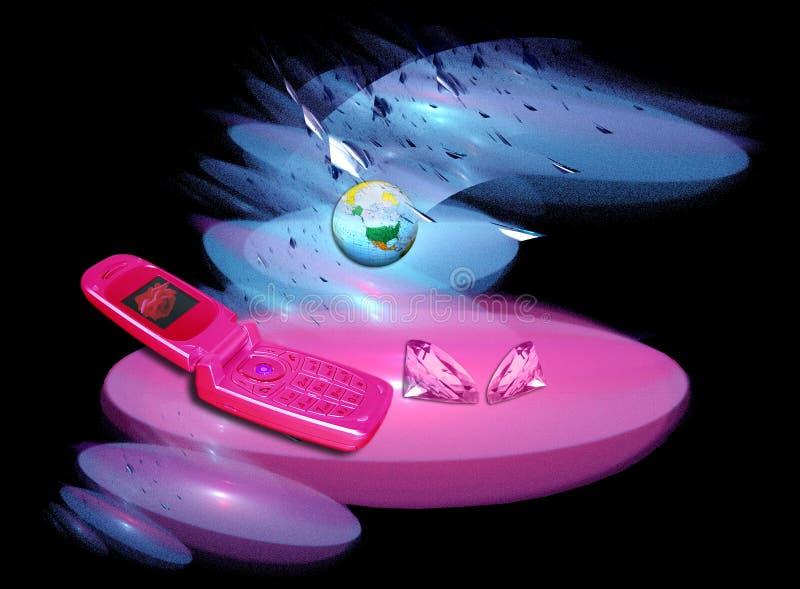 Diamanti e regalo del telefono delle cellule illustrazione vettoriale