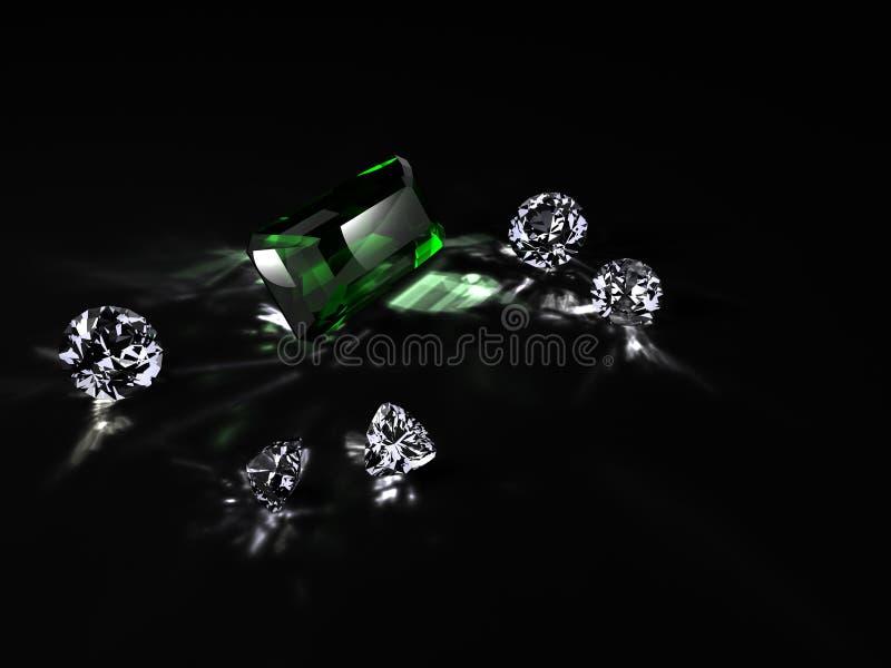 Diamanti ed uno smeraldo immagine stock
