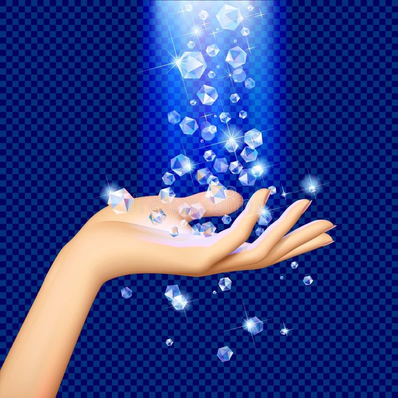 Diamanti nell'ambito di luce blu che cade sulla mano del ` s della donna illustrazione vettoriale