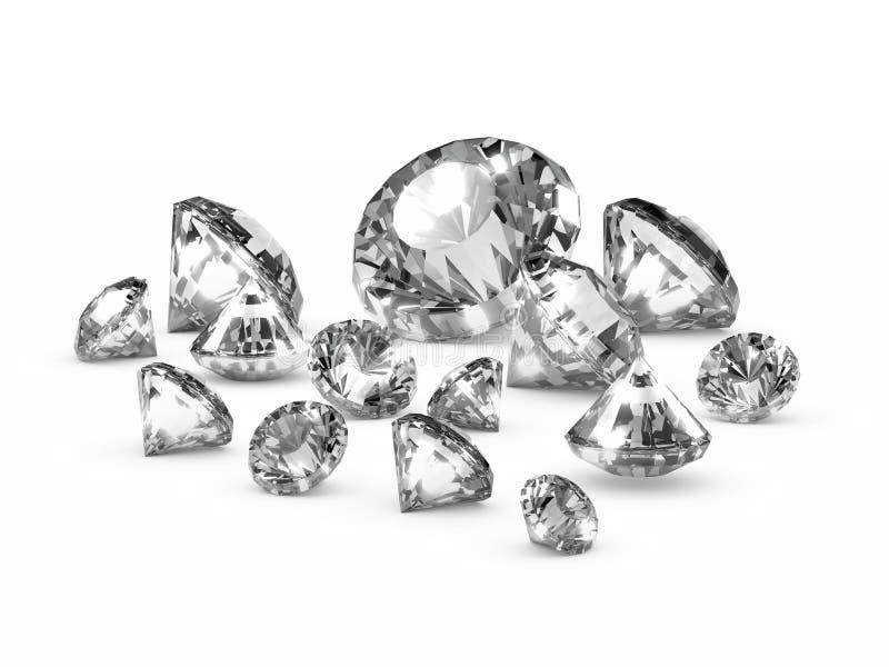 diamanti sparsi 3d royalty illustrazione gratis