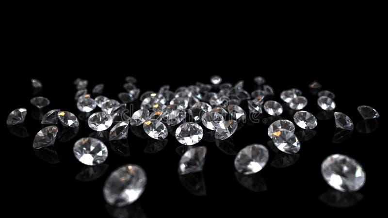 Diamanti su priorità bassa nera illustrazione vettoriale