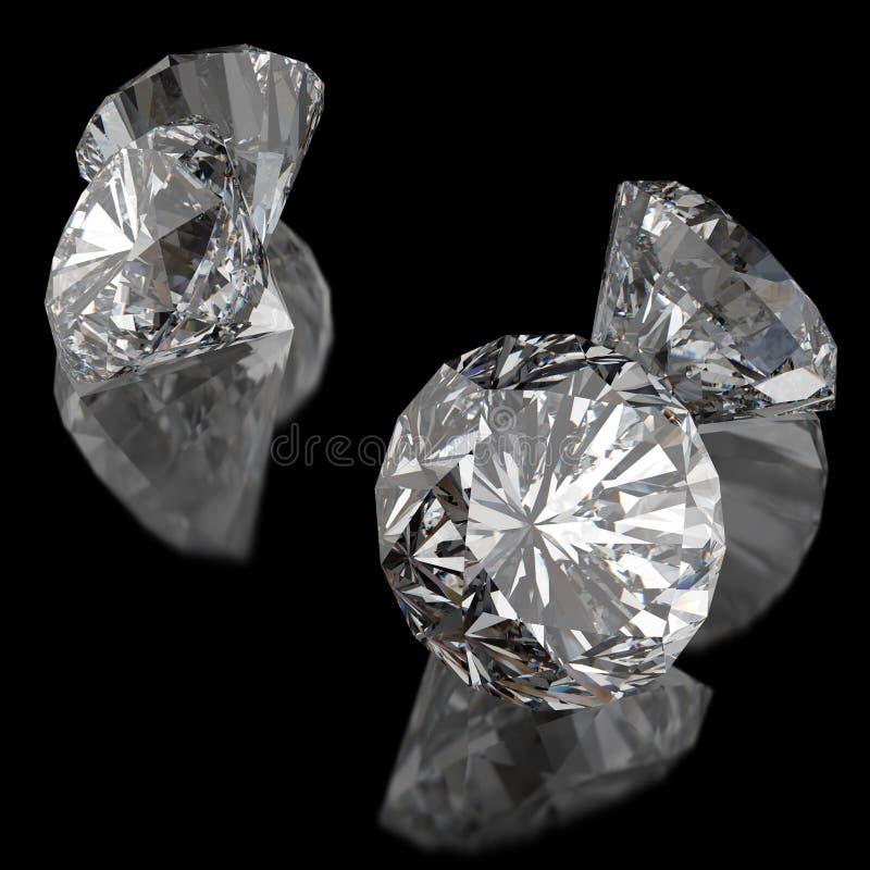 Diamanti sulla superficie del nero illustrazione vettoriale