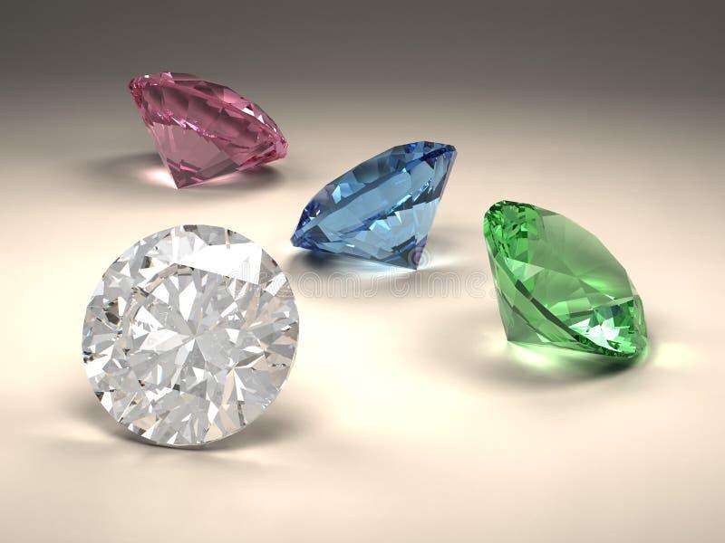 Diamanti variopinti illustrazione vettoriale