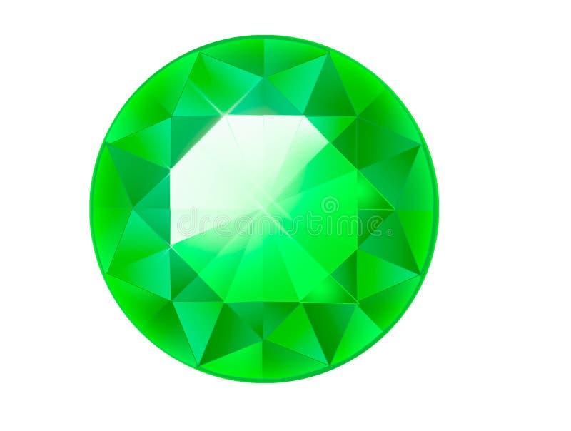Diamantillustration in einer flachen Art facettierter Edelstein smaragd lizenzfreie abbildung
