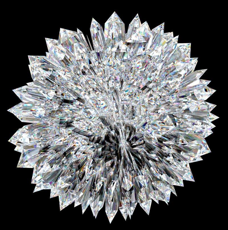 Diamantkugel mit akuten Stalagmites lizenzfreie abbildung