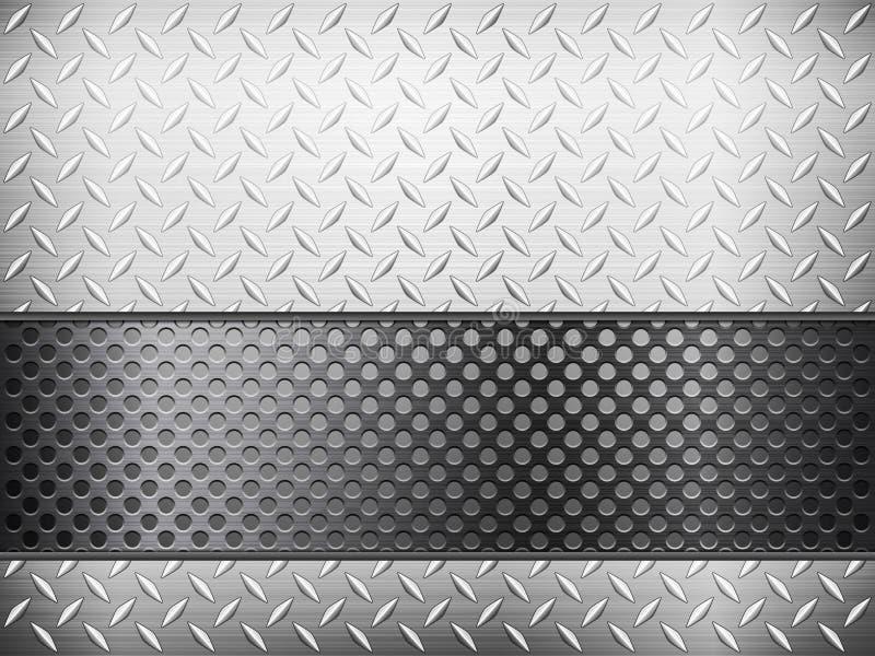 Diamantmetallhintergrund und -gitter stock abbildung