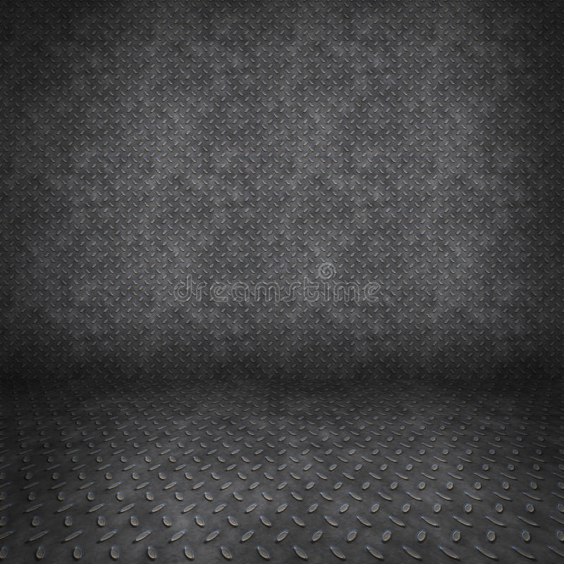 Diamantmetallschmutzige Wand im Raum lizenzfreie abbildung