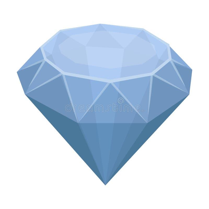 Diamantpictogram in beeldverhaalstijl op witte achtergrond wordt geïsoleerd die Kostbaar mineralen en juweliersymbool royalty-vrije illustratie