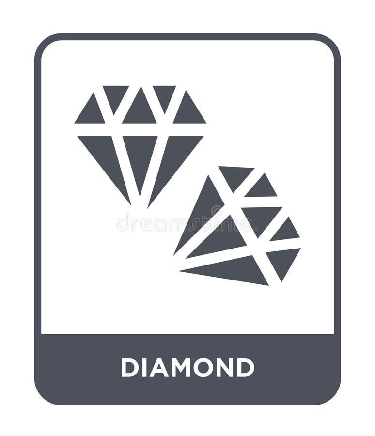diamantpictogram in in ontwerpstijl Diamantpictogram op witte achtergrond wordt geïsoleerd die eenvoudige en moderne vlakke symbo vector illustratie