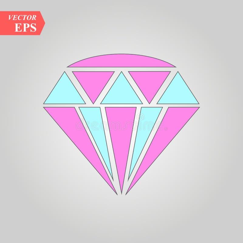 Diamantpictogram Vector illustratie Glanzend kristalteken Briljante steen Kleurrijk die kristal op witte achtergrond wordt geïsol stock illustratie