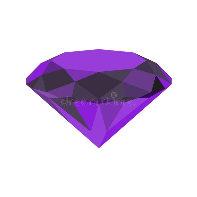 Diamantpictogram Vector illustratie Glanzend kristalteken Briljante steen Violette die steen op witte achtergrond wordt geïsoleer stock illustratie